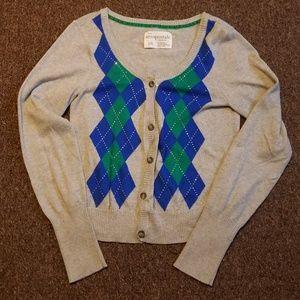 Aeropostale Women's Cardigan Argyle Sweater Large